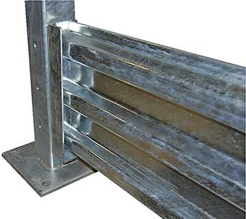 Vestil GR-F3R-DI Galvanized Steel Guard Rail