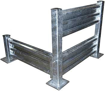 Vestil GR-F3R-BO Galvanized Steel Guard Rail