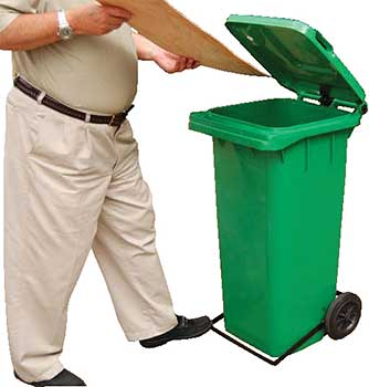 Vestil TH-32-GRN-FL Trash Can with Foot Lid Lifter