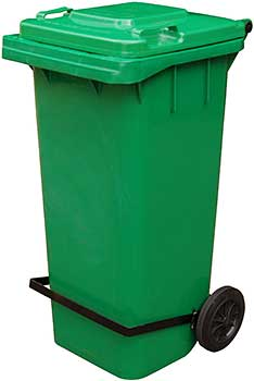 Vestil TH-95-GRN-FL Trash Can with Foot Lid Lifter