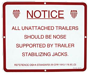 Aluminum Stabilizer Jack Instruction Sign