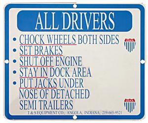 SAJ-1012  Aluminum Driver Instruction Sign