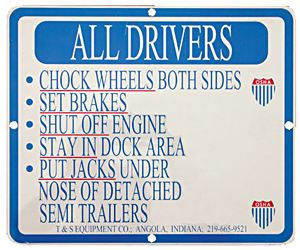 SAJ-1012  Aluminum Driver Instruction Sign