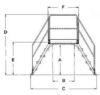 Vestil COL-4-36-44 Cross-Over Ladder