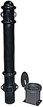Vestil BOL-OR-40-BK Removable Ornamental Bollard