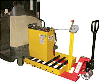 Vestil BTC-PJ Forklift Battery Transfer Cart shown with optional winch