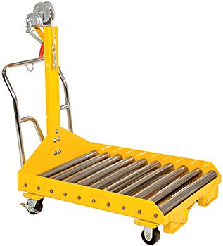 Vestil BTC-CART Forklift Battery Transfer Cart Shown with Optional Winch