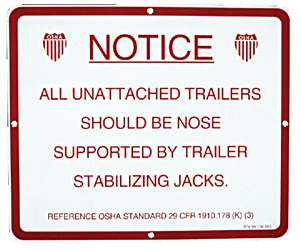 Aluminum Stabilizer Jack Instruction Sign