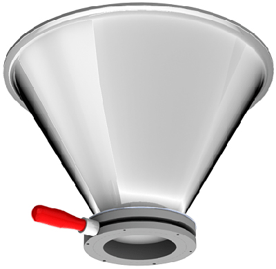 Morse Stainless Steel Drum Cone (shown with optional Clamp Collar and Iris valve)