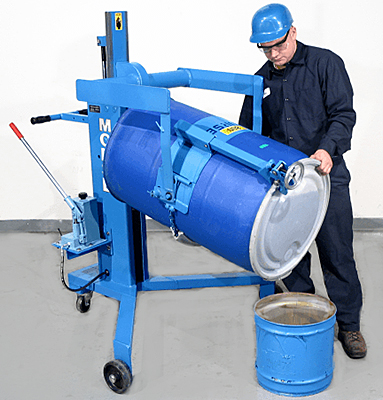 Manual model shown with optional 4560-P top rim clamp for 55 gal. rimmed plastic and fiber drums