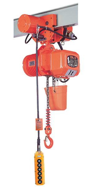 Elephant DA-1.5 Electric Chain Hoist shown with MAS motorized trolley