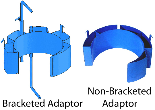 Small Diameter Drum Adaptors With Hold Down Bracketed & Non-Bracketed