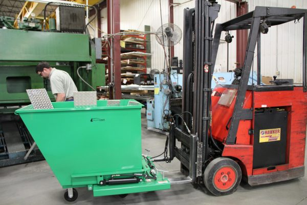 F89681 Forklift Attachment shown with F89679 Mobile Hopper