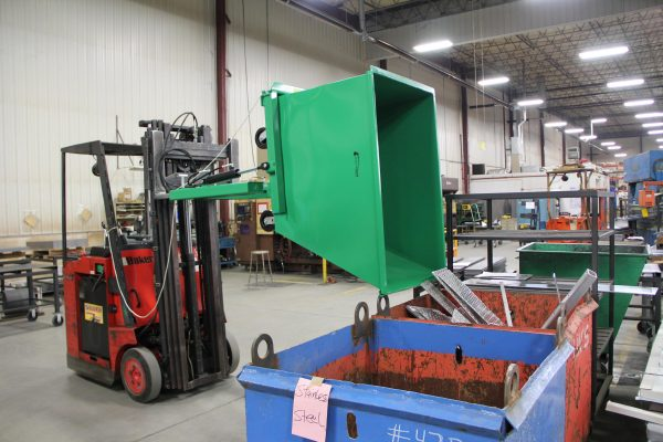 F89681 Forklift Attachment shown with F89680 Mobile Hopper