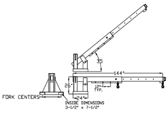 All Lift TLJP Forklift Boom Drawing