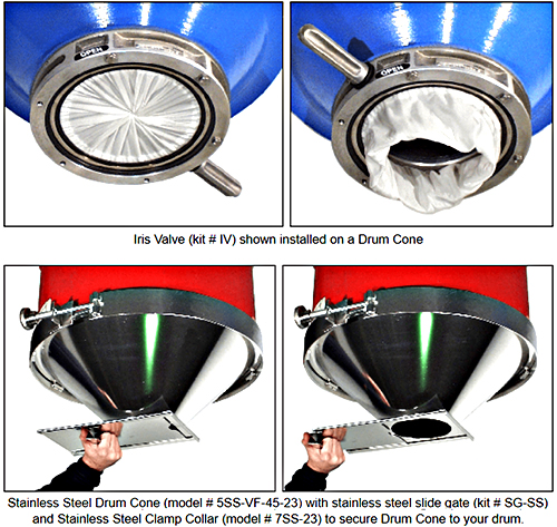 Morse Stainless Steel Drum Cone (shown with optional Iris Valve and Slide Gate valve)