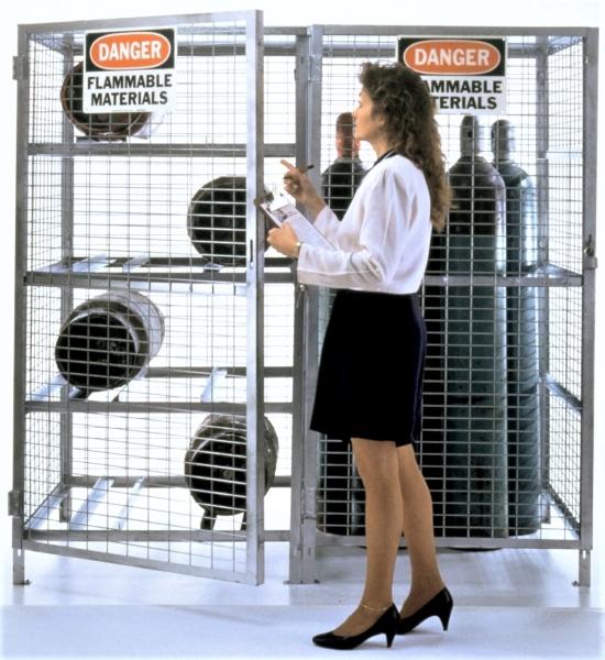 Vestil CYL-T-COMBO Galvanized Cylinder Storage Cabinet