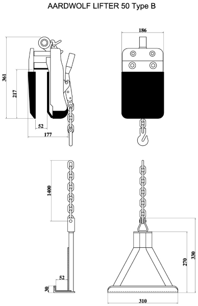 Aardwolf AL50B Slab Lifter Drawing