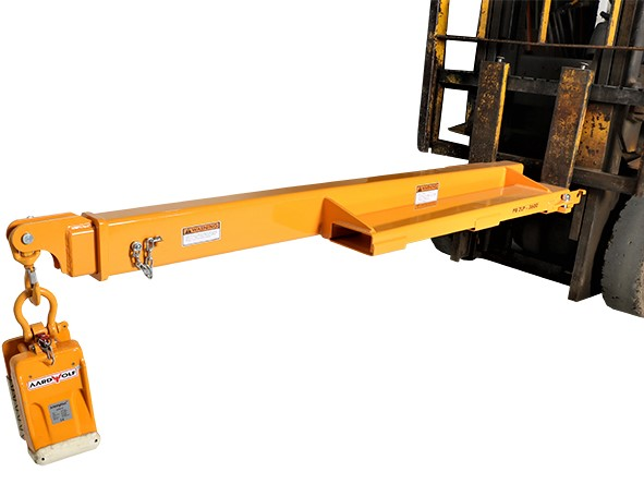 Aardwolf FB2LP-3600 Low Profile Telescoping Forklift Boom shown with Slab Lifter