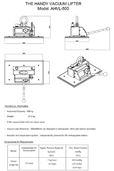 Aardwolf AHVL500 Vacuum Lifter Drawing
