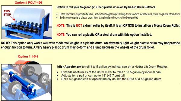 Morse 456 Drum Roller Options