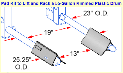 Pad Kit included for lifting Plastic Drums