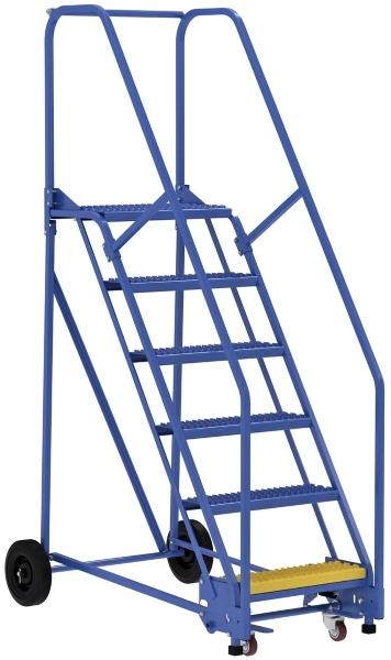 Vestil LAD-6-14-G 6 Step Rolling Warehouse Ladder