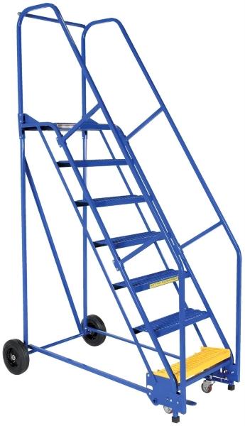 Vestil LAD-7-14-G 7 Step Rolling Warehouse Ladder