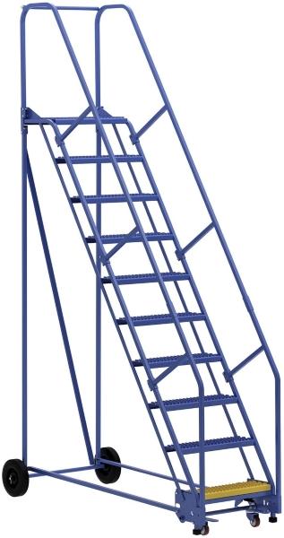 Vestil LAD-10-14-G 10 Step Rolling Warehouse Ladder