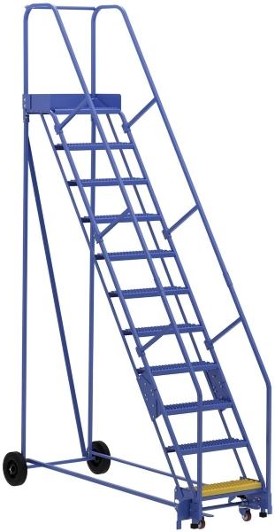 Vestil LAD-11-14-G 11 Step Rolling Warehouse Ladder