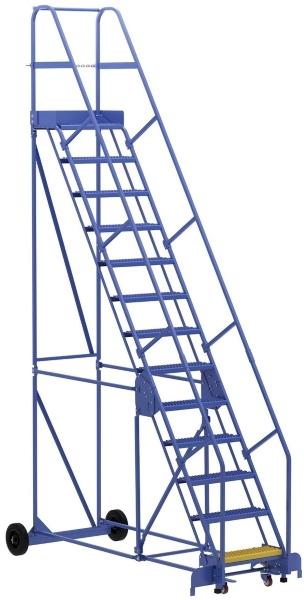 Vestil LAD-13-14-G 13 Step Rolling Warehouse Ladder