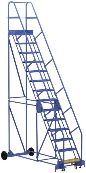 Vestil LAD-14-14-G 14 Step Rolling Warehouse Ladder