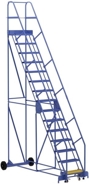 Vestil LAD-15-14-G 15 Step Rolling Warehouse Ladder