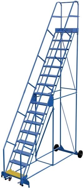 Vestil LAD-16-14-G 16 Step Rolling Warehouse Ladder