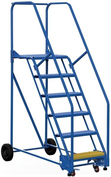 Vestil LAD-6-21-G 6 Step Rolling Warehouse Ladder