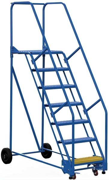 Vestil LAD-7-21-G 7 Step Rolling Warehouse Ladder