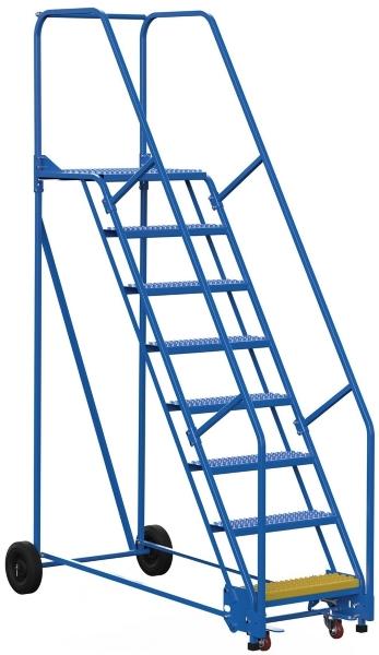 Vestil LAD-8-21-G 8 Step Rolling Warehouse Ladder