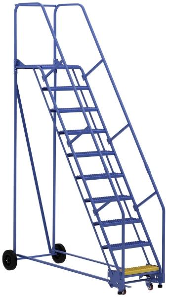 Vestil LAD-10-21-G 10 Step Rolling Warehouse Ladder