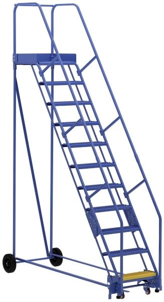 Vestil LAD-11-21-G 11 Step Rolling Warehouse Ladder