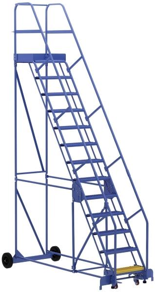Vestil LAD-13-21-G 13 Step Rolling Warehouse Ladder
