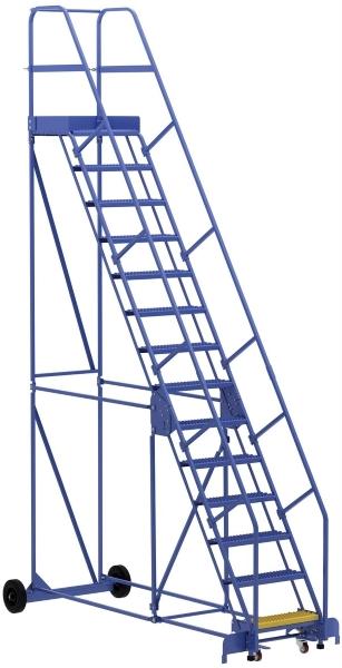 Vestil LAD-14-21-G 14 Step Rolling Warehouse Ladder