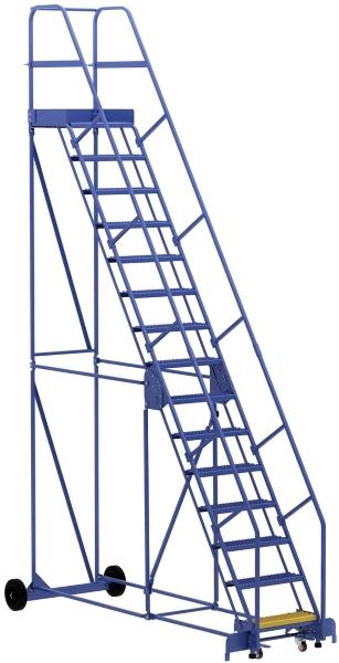 Vestil LAD-15-21-G 15 Step Rolling Warehouse Ladder