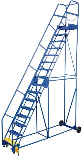 Vestil LAD-16-21-G 16 Step Rolling Warehouse Ladder