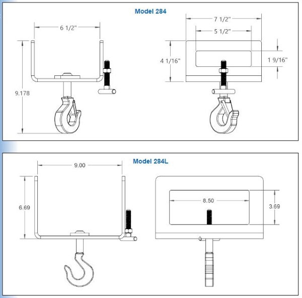 Fork Hooks 284, 284L Drawing