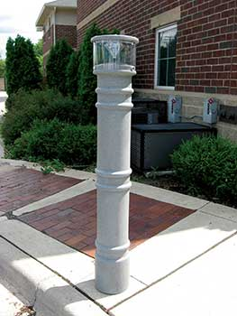 decorative bollard covers - metro style - bpc-dm-b, bpc-dm-lac-gy