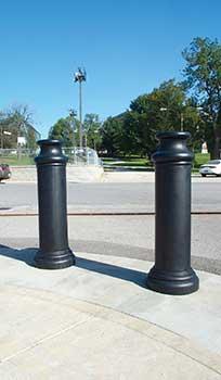 decorative bollard covers - pawn style - bpc-dp-r, bpc-dp-fg, bpc