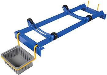 Vestil PRDC-42-R Pallet Rack Drum Cradle shown with PRDC-DPN Drip Pan